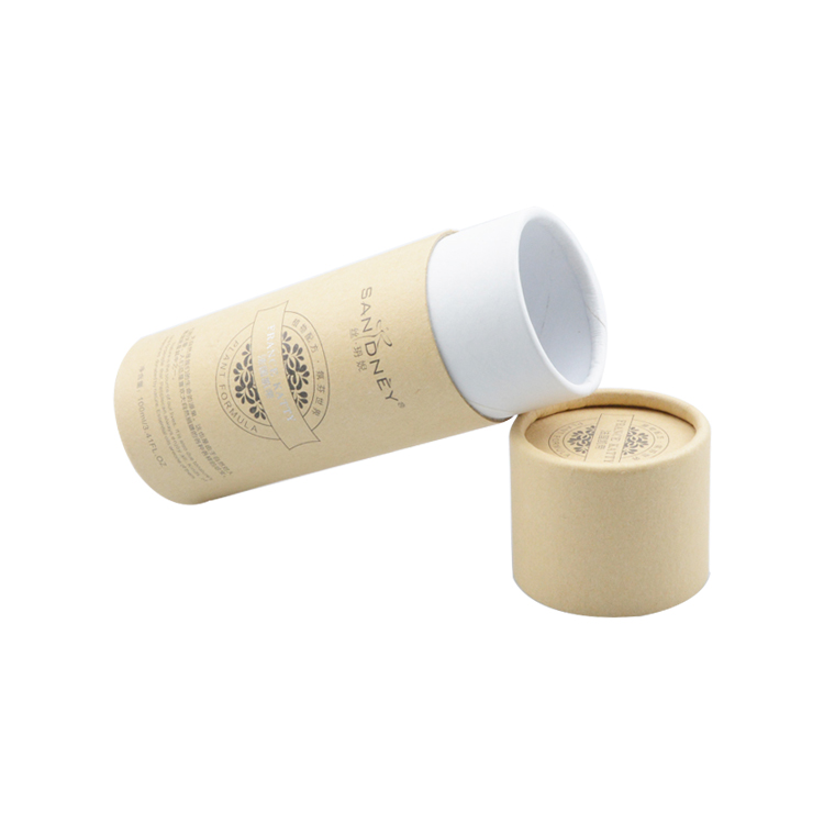Eco-Friendly Custom Kraft Paper Tube Packaging Cardboard Tube for Cosmetic Packaging with Silver Hot Stamping Logo